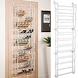 Vinteky®36 pares zapatero para colgar de la puerta sobre la puerta con 12 niveles estantes ajustable soporte organizador de almacenamiento