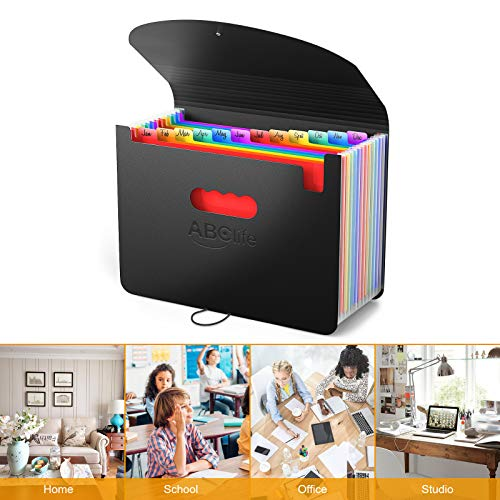 Accordian File Organizer, 12 Pockets Expanding File Folder with Expandable Cover/Portable A4 Letter Size Filing Box, Accordion Paper Document Coupon Organizer, Plastic Folder Organizer Colored Labels Photo #4