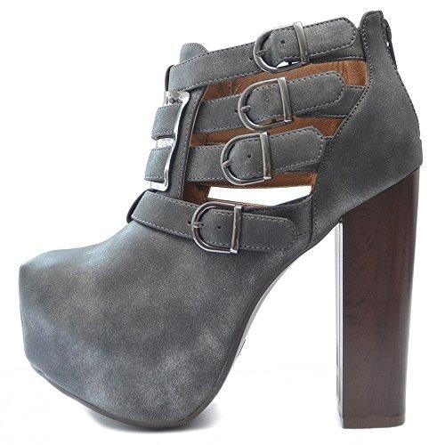Vain Secrets Ankle Boots Stiefeletten in Schwarz oder Grau Cut Out Style (38, Grau)