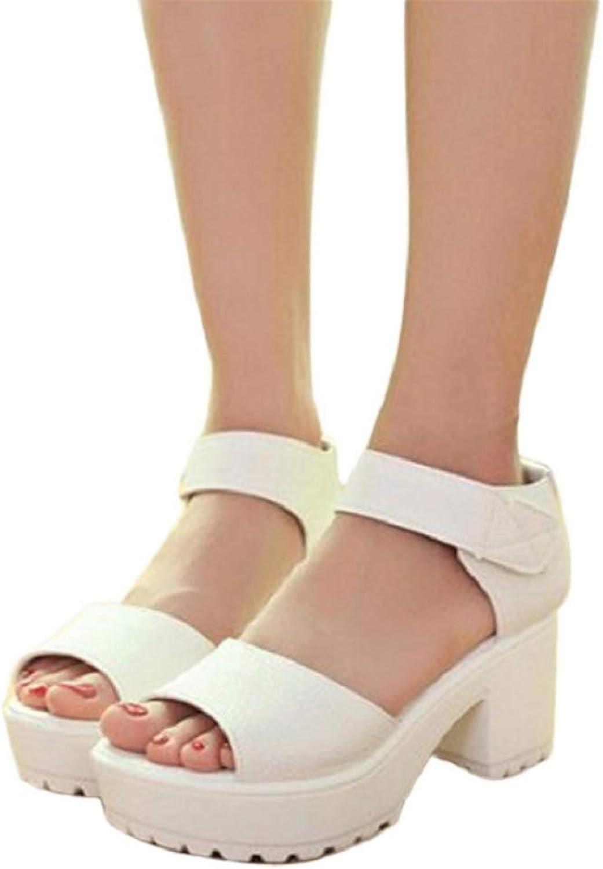T-JULY Women Hook & Loop Platform High Heels Lightweight EVA Cut-Outs Sandals Open Toe Slides Black White