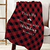 Christmas Flannel Fleece Blanket Luxury Holiday Blanket, This is My Christmas Movie Watching Blanket Black Red Buffalo Plaid Throw Blankets for Bed Couch Sofa 40'x50' Soft Fuzzy Plush Warm Blankets