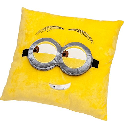 Despicable Me - Minions - Cojín con los Ojos en 3D en Suaves Peluches de Felpa 36 x 36 cm, de Color Amarillo - Cojín Minions Kevin en Relieve, Hogar A Partir de 4 años, A Partir de 6 años