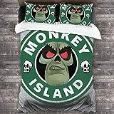 KUKHKU Monkey Island LeChuck Starbucks - Juego de cama de 3 piezas, funda de edredón de 86 x 70 pulgadas, decoración de 3 piezas con 2 fundas de almohada