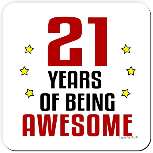 21 Years of Being Awesome 21st Birthday Drinks Coaster Mat