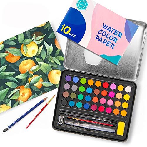 URCGP, Set di Colori ad Acquerello da Viaggio, di Alta qualità, con Un Pennello e Una Custodia Portatile, Regalo per Principianti e artisti