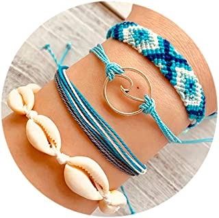 Wave Rope Bracelet Set Handmade Braided Shell Waterproof Adjustable Beach Wrap Vsco Bracelets for Woman Girl Gift