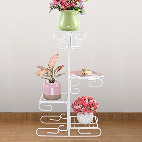 LWF Plante Support Fer Pot de Fleur de Plante 4 étages, Support de présentation bonsaï Support pour Home Garden Patio Décor Pliable étagère Blanc Peut contenir, b, 52 * 83CM