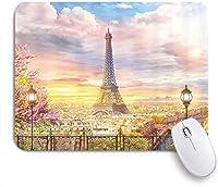 EILANNAマウスパッド パリのエッフェル塔のフランスのバルコニー ゲーミング オフィス最適 おしゃれ 防水 耐久性が良い 滑り止めゴム底 ゲーミングなど適用 用ノートブックコンピュータマウスマット
