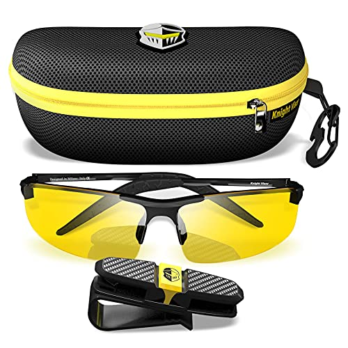 BLUPOND Night Driving Glasses For Men/Women - HD Yellow Vision for Maximum Clarity - Knight Visor (BLACK, Yellow Amber)