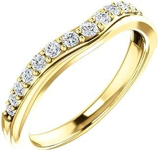 14K White Gold 1/3 CTW Diamond Contour Bridal Wedding Ring Band