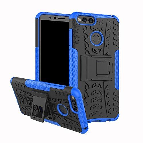 xinyunew Huawei Honor 7A/Y6 2018 Hülle, Handyhülle Hülle 360 Grad Ganzkörper Schutzhülle+Panzerglas Schutzfolie Schützend Handys Schut zhülle Tasche Cover Skin mit Ständer für Huawei Honor 7A Blau