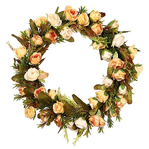 Balai Artificial Rose Flower Wreath Peony Garlands - Front Door Wreaths Spring Summer Autumn All Seasons Round Vine Decoration for Halloween Christmas Thanksgiving Wedding Home Party Wall