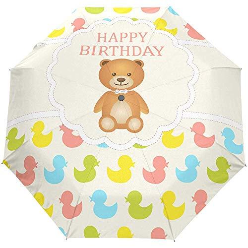 Alles Gute zum Geburtstag Bär Auto Open Umbrella Sonnenregen Regenschirm Anti UV Folding Compact Automatic Umbrella