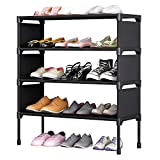TZAMLI 4-Tier Free Standing Shoe Rack 12 Pairs Non-Woven Fabric of Shoes Organizer in Closet Entryway...