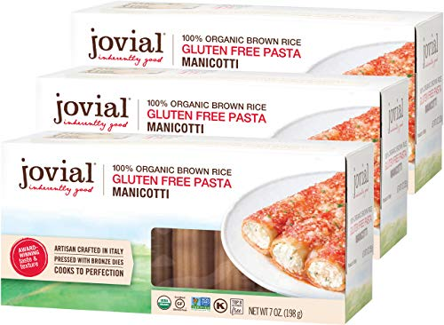 Jovial Manicotti Gluten-Free Pasta | Whole Grain Brown Rice Manicotti Pasta | Non-GMO | Lower Carb | Kosher | USDA Certified Organic | Made in Italy | 7 oz (3 Pack)
