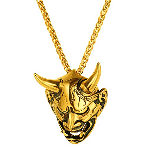 U7 Collares Hip Hop para Hombres Cabeza Diablo Bañado en Oro 18k Cade