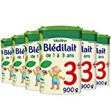 Blédina Blédilait Croissance 3ème âge (1 à 3 ans) - Lait de croissance en poudre pour les bébés de 12 mois à 36 mois - 6 boîtes de 900g