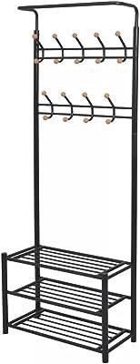 HUANGDANSP Porte-Manteau avec Rangement pour Chaussures 68x32x182,5cm Noir Maison Jardin Décorations Porte-Manteaux Porte-Chapeaux