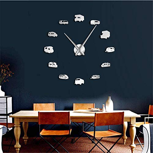 Makeyong Camper Bus Motorhome Home Decor Rv Camping Diy Giant Wandklok Reizen Aanhangwagen Vervoer Recreatieve Voertuigen Wandhorloge 47Inch