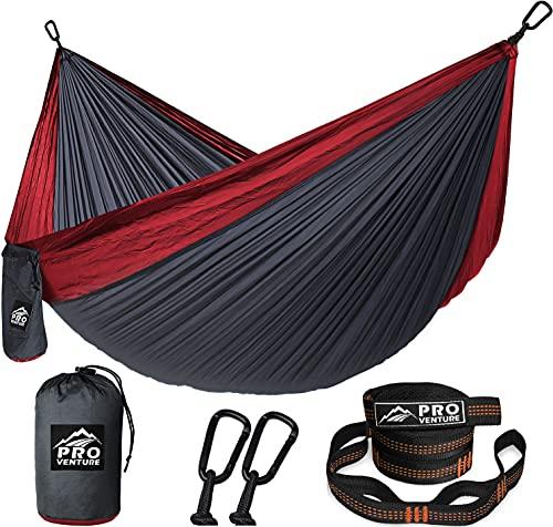 Pro Venture Camping Hammock - Double or Single Hammocks with Tree Straps - 2 Person Large Portable Hammock - Lightweight Parachute Nylon Hammock -XL Backpacking, Travel, Hiking, Beach, Backyard,Patio