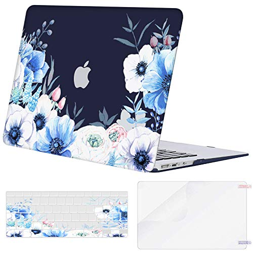 MOSISO MacBook Air 13 inch Case (A1369 & A1466, Older Version 2010-2017 Release), Plastic Myosotis Hard Shell Case&Keyboard Cover&Screen Protector Only Compatible with MacBook Air 13 inch, Blue