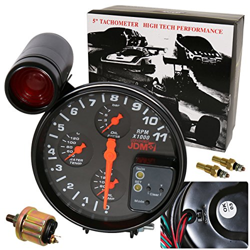 AJP Distributors Universal 5' Black Face 4In1 JDM Tachometer 11K Rpm Gauge With Oil/Water Temperature Oil Pressure Shift Light