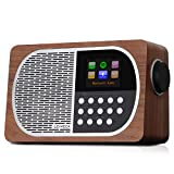 LEMEGA M2+ Smart Internet Radio,Table Radio,FM Radio,Bluetooth, WiFi,Spotify Connect,Wooden Box,Headphones-Out,AUX-in,USB MP3, Alarms& Clock,Kitchen/Sleep/Snooze Timer,20 Stations Presets-Walnut