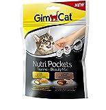 GimCat Nutri Pockets Taurine-Beauty Mix, Kalorienarmer Knuspersnack für Katzen mit cremiger Füllung und funktionalen Inhaltsstoffen, Ohne Zuckerzusatz, 1 Beutel (1 x 150 g)