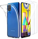 EIISSION Custodia per Samsung Galaxy M31 Morbido TPU Cover + 2 × Pellicola in Vetro Temperato,...