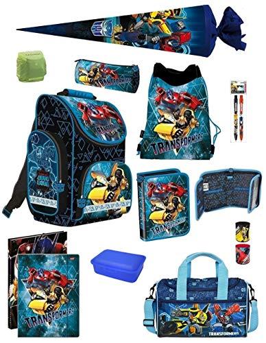 Familando Transformers PL Schulranzen-Set 13-TLG. mit Federmappe, Turnbeutel, Brotzeit-Dose, Sporttasche, Schultüte 70cm und Regenschutz Blau