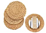 N?A Water Hyacinth Placemats - Seagrass Placemats - Round Woven Placemats - Wicker Placemats - Braided Placemats - Round Table Placemats - Natural Placemats, Set of 12  13.4 inch