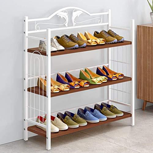 YLCJ schoenenrek, eenvoudige meerlagige slaapzaal binnenlandse schoenenrek, kleine schoenenkast met economische montagedeur, opslagruimte (kleur: Amerikaanse rode eiken)