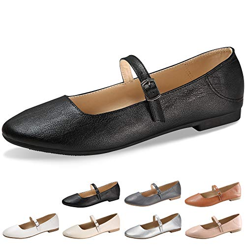 CINAK Flats Mary Jane Shoes Women's Casual Comfortable Walking Buckle Ankle Strap Fashion Slip On(8-8.5 B(M) US/ CN40 / 9.84'', Black)
