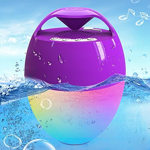 Portatile Altoparlante Bluetooth, Altoparlante Doccia Galleggiante con Luci LED, IP68 Impermeabile Bluetooth 5.0, Chiamata a Mani Libere per Bassi Profondi,Cassa Bluetooth per Doccia Bagno Delle Feste