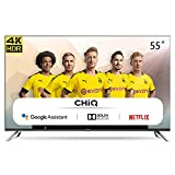 CHiQ Televisor Smart TV LED 55 Pulgadas, Resolución 4K UHD, Android 9.0, WiFi, Bluetooth, Google Play Store, Google Assistant, Netflix, Prime Video, HDMI ARC, USB - U55H7A