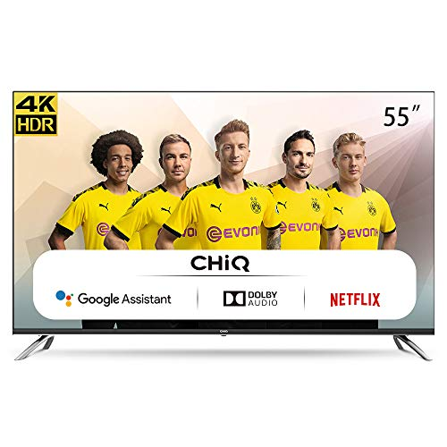 CHiQ U55H7A Randloser Android UHD LED Fernseher 55 Zoll TV 4k Randlos Smart TV 139 cm Bilddiagonale (Version 2020, Ultra HD, Prime Video und Chromecast)