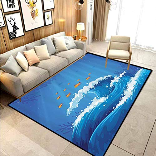 Marine Rugs for Girls Rooms Rugs for Kitchen Floor Underwater with Group of Fish and Wave in The Ocean Coral Reef Illustration Carpet Comfy Bedroom Home Decorate Floor Kids Playing Mat Violet Blue