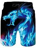 Goodstoworld Hombre Bañador Shorts 3D Playa Natacion Pantalon Corto Poliéster Secado Rápido Ligero Bermuda Moda Shorts S