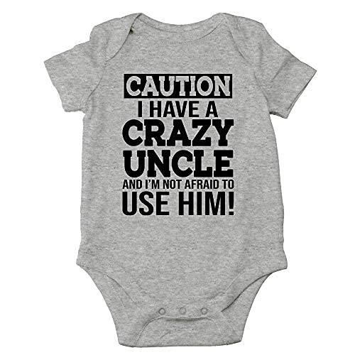 Caution I Have a Crazy Uncle Not Afraid to Use Him - Regalo único para bebé - Lindo bebé de una pieza