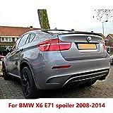 AniFM - Spoiler Posteriore in plastica ABS per Bagagliaio, per BMW X6 E71, Colore: Nero