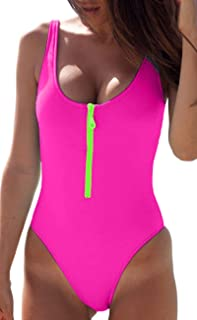 228e7e2f68 MERCHAM Women Sexy Zipper Front Low Back High Cut One Piece Swimsuit  Bathing Suit
