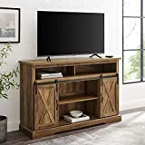 Walker Edison Clayton Farmhouse Sliding Double Barn Door TV Stand for TVs up to 58 Inches, 52 Inch, Reclaimed Barnwood