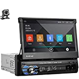 Single Din Car Stereo Android GPS Navigation Head Unit Auto Radio 7 Inch Touchscreen Radio Support Bluetooth FM/USB/SD/WiFi Mirror Link + Backup Camera