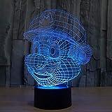Super Mario Figuras Ilusión 3D Lámpara de luces, Mesa de LED Decoración de escritorio 7 colores Control táctil Alimentado por USB Lámpara de decoración de fiesta, Lámpara visual 3D