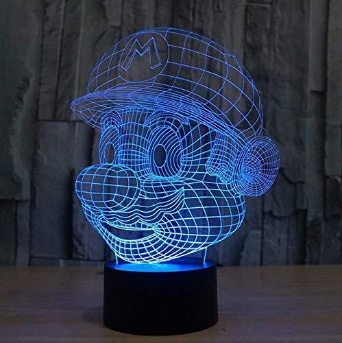 Super Mario Figuras 3D Illusion Lichter Lampe, LED Tisch Schreibtisch Dekor 7 Farben Touch Control USB Powered Party Dekoration Lampe, 3D visuelle Lampe
