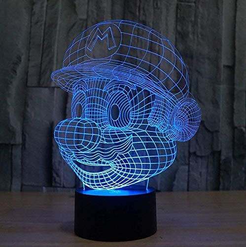 Super Mario Figuras 3D Illusion Lichter Lampe, LED Tisch Schreibtisch Dekor 7 Farben Touch Control USB Powered Party Dekoration Lampe, 3D visuelle Lampe