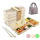 Lunch Box con Borsa Isolante,Porta Pranzo,Bento Box con 3-in-1 compartimenti Posate,Per Microonde e Lavastoviglie/Approvato dalla FDA/No BPA(Beige)
