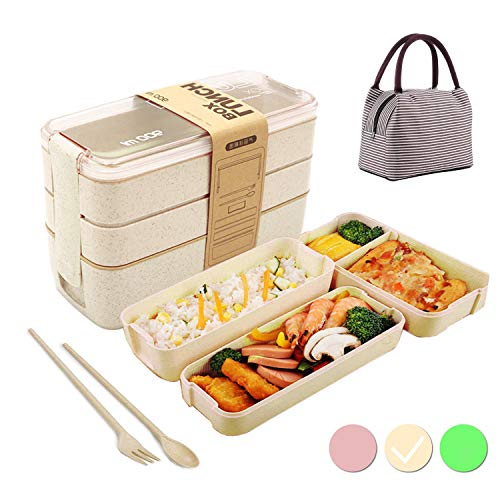 Caja de Bento con Bolsa Aislante,Lunch Box Infantil,Fiambreras con 3 Compartimentos,Cuchara Tenedor Lonchera,Fiambreras Caja de Almuerzo Ideal para Microondas(Beige)
