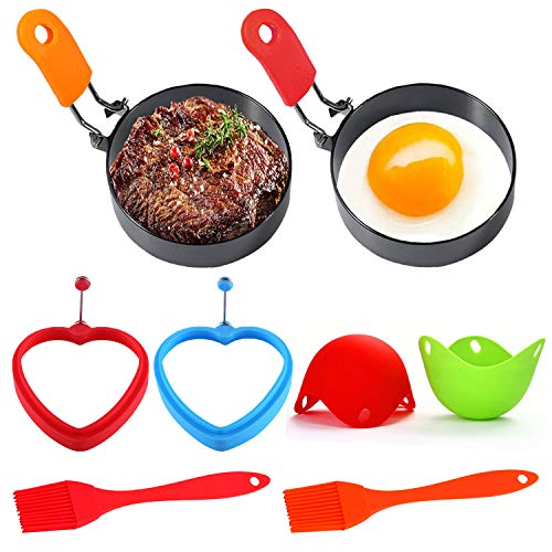 8pcs Stainless Steel Egg Rings(Silicone Egg Poacher Cups and Egg Ring),Anti-Scald Folding Handle with an Oil Brush Non Stick Coating Suitable for Egg Frying,Shaping,Pancakes,Mini Burger
