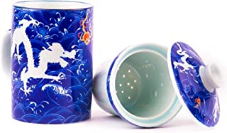 Dragon Green Tea Cup by Tea of Joy - Porcelain Mug Perfect for Oolong Puerh Loose Tea Brewing or Coffee or Gift - with Chinese Blue & White Emperor Dragon Decor and Matching Lid and Infuser Set